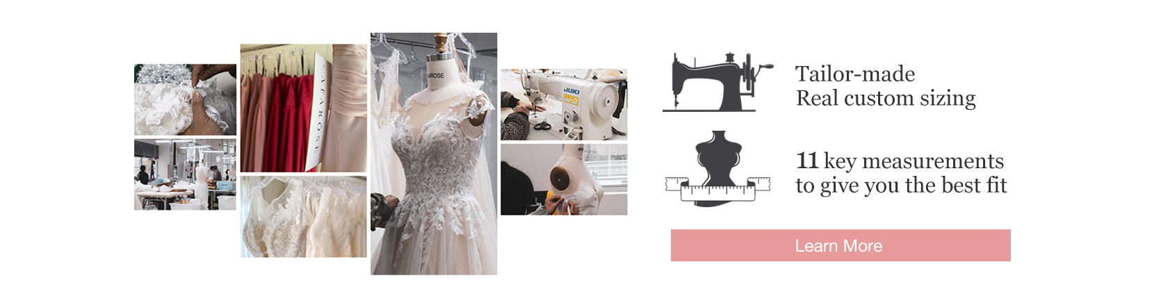 Custom Sizing Free. Real Tailor Made Bridal Gowns.
